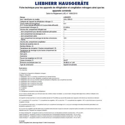 Réfrigérateur intégrable 1 porte LIEBHERR UIKO 1550-21 - 2