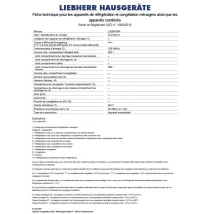 Réfrigérateur intégrable 1 porte LIEBHERR IK 2720-21 - 2