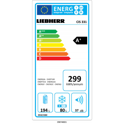 Réfrigérateur combiné intégrable LIEBHERR CIS 331 - 6