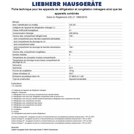 Réfrigérateur combiné intégrable LIEBHERR CIS 331 - 5