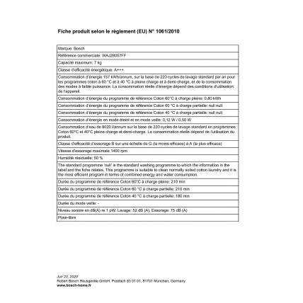Lave linge frontal BOSCH WAJ 28057 - 2
