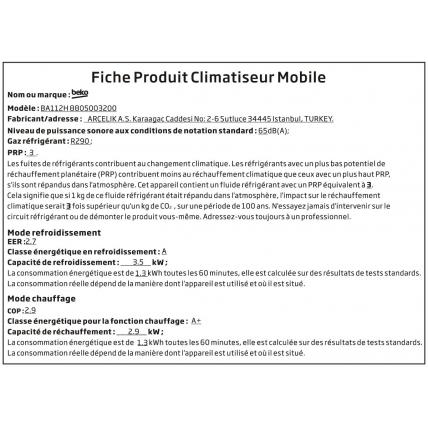 Climatiseur monobloc BEKO BA 112 H - 1